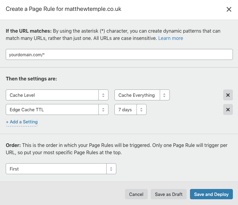 CloudFlare Rules for speed optimisations on WordPress